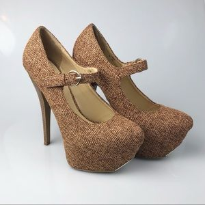Madison by Shoe Dazzle Tan Woven Heel Pump